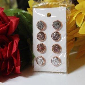 Rose Gold Druzy Earring Set